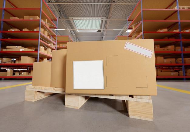 Картонная коробка на складе - Premium Фотографии