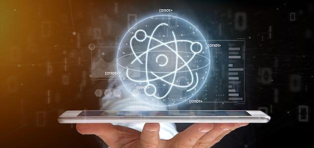 データに囲まれた原子のアイコンを保持している実業家 Premium写真