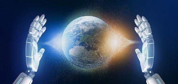 地球大理石の粒子を持っているサイボーグ手 Premium写真