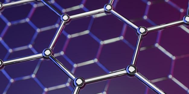 紫色のグラフェン分子ナノテクノロジー構造 Premium写真