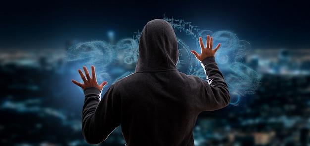 Хакер активирует вопросительный знак Premium Фотографии