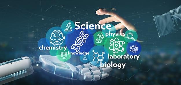 Киборг рука иконки науки и название Premium Фотографии