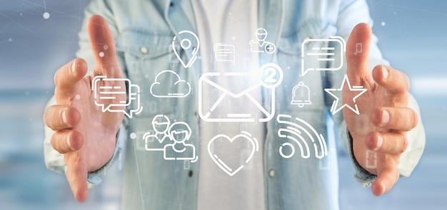 ソーシャルメディアネットワークアイコンの雲を保持している実業家 Premium写真