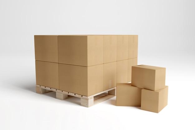 Картонные коробки, изолированные на белом Premium Фотографии
