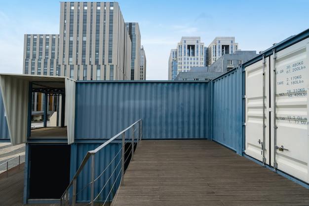 中国青島のハイテクパークのコンテナハウスとオフィスビル Premium写真