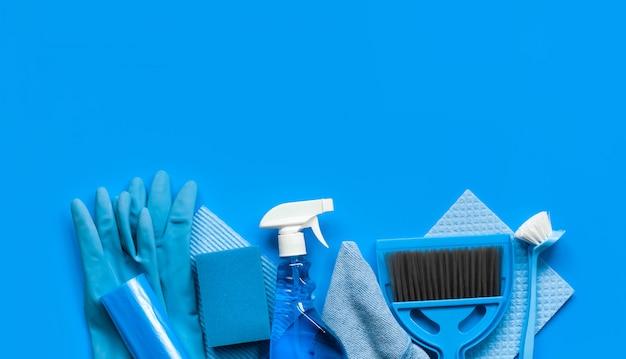 家の中の春の大掃除の青セット Premium写真