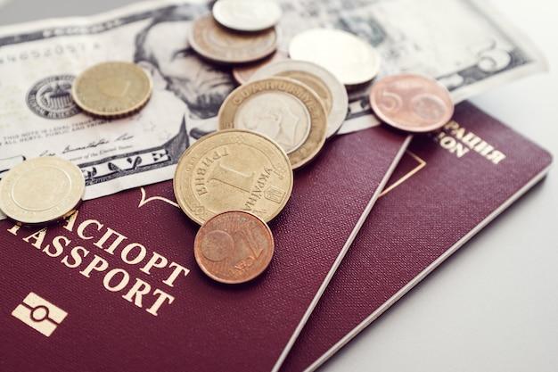 無地の背景に紙幣と硬貨のパスポート。 Premium写真