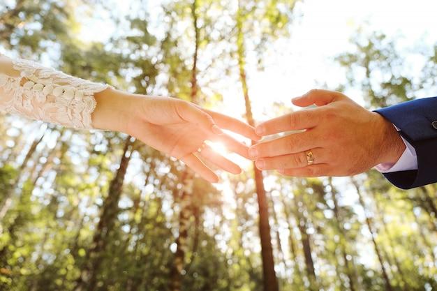 Невеста и жених, взявшись за руки в парке. Premium Фотографии