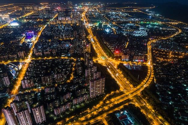 モダンシティパノラマの夜景 無料写真