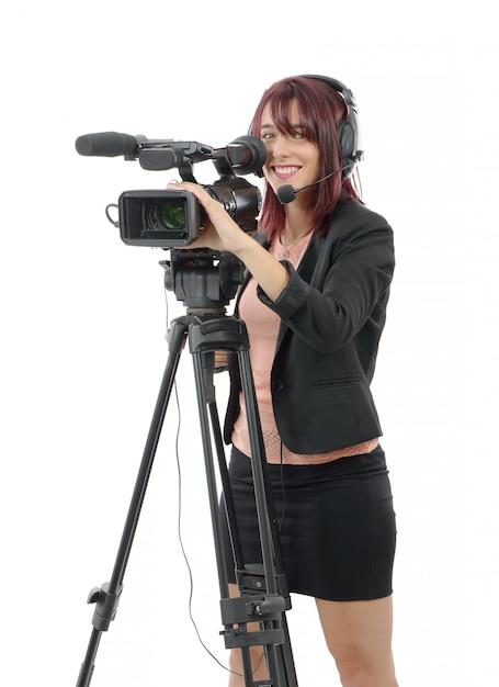 Молодая женщина с профессиональной видеокамерой Premium Фотографии