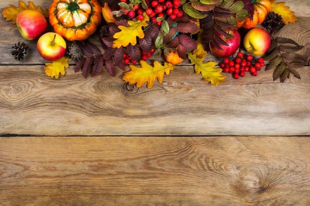 Осенний фон с красными листьями рябины и желтого дуба, Premium Фотографии