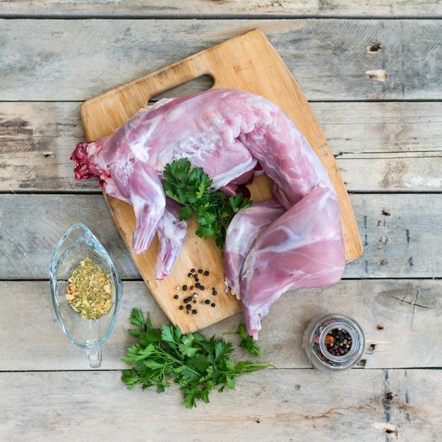 休日の肉と健康的な食事のレシピ Premium写真