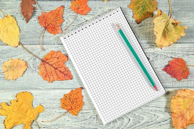 黄色の紅葉と明るい古い木製の背景にノート Premium写真