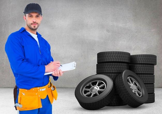 均一な男性の電気技師青い作業 無料写真