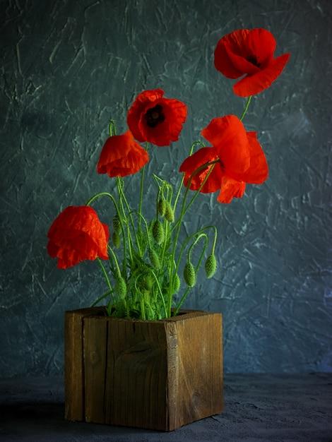 Старинный фон с красными маками в деревянной вазе Premium Фотографии