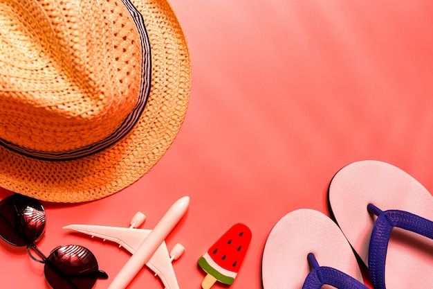 旅行者のアクセサリー、熱帯のヤシの葉、飛行機の平面図。 Premium写真