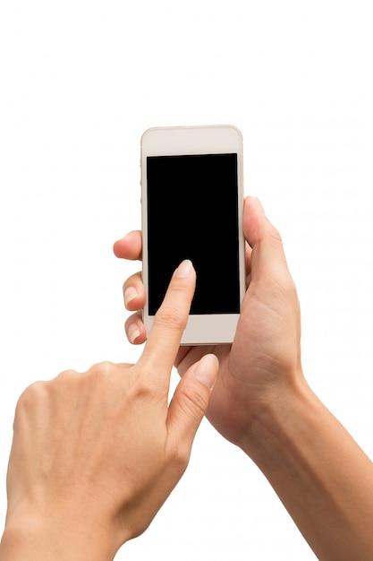 分離された白の手保持携帯電話 Premium写真