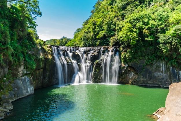 深い森の美しい滝。 Premium写真