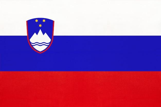 スロベニア国立生地旗繊維の背景、世界ヨーロッパの国の象徴 Premium写真