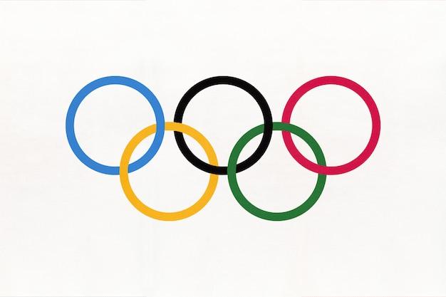 Символ флага олимпийских игр Premium Фотографии