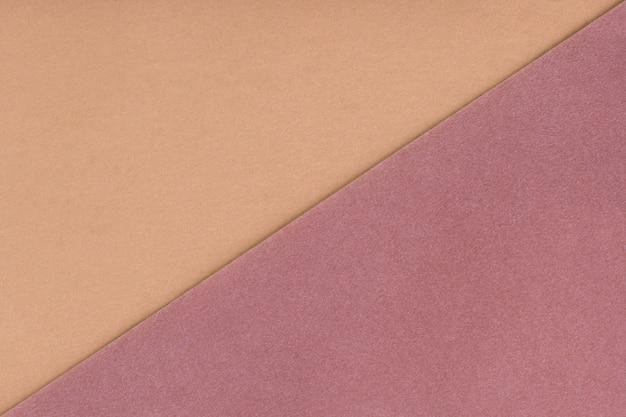 Два цвета фона бежевый и коричневый оттенок. бархатная текстура из фетра. Premium Фотографии
