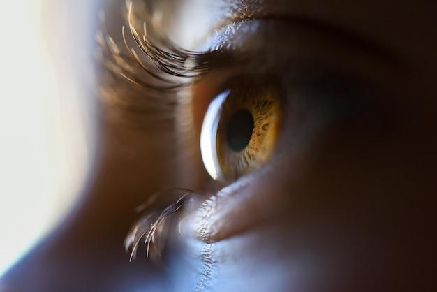 Крупный план красивая маленькая девочка карие глаза Бесплатные Фотографии