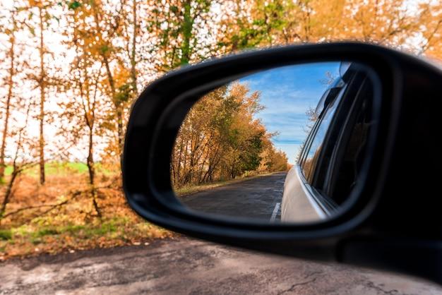 秋の森が車のバックミラーに映る Premium写真