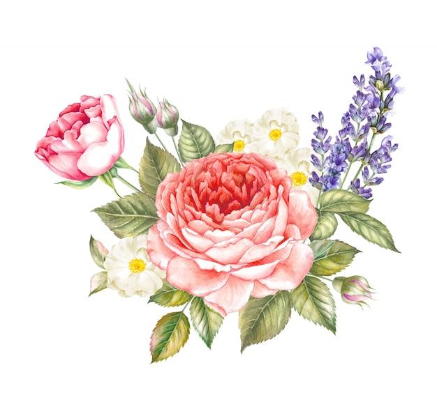 赤い咲くバラとラベンダーのビンテージガーランド。 Premium写真