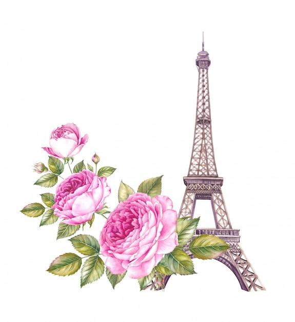 夏のパリのイラスト。 Premium写真
