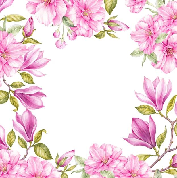花のモクレンと日本の桜の花の背景のフレーム Premium写真