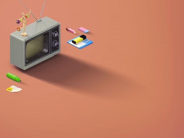 パースペクティブトップビューレトロシーンバナー、文房具とオレンジの茶色の背景に古いテレビ Premium写真