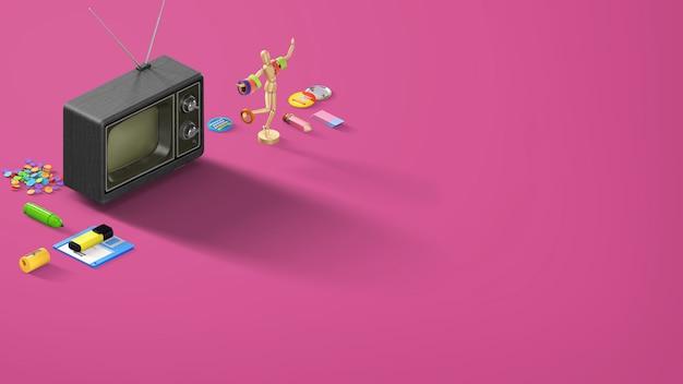 ペンシルと古い黒のテレビ付き文房具と紫のピンクのレトロなバナー Premium写真
