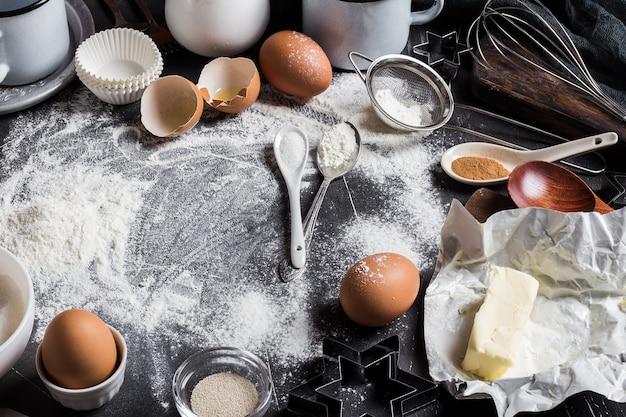 Подготовка выпечки кухонные ингредиенты для приготовления пищи Бесплатные Фотографии