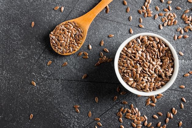 Концепция здоровой натуральной пищи льняного семени льна Бесплатные Фотографии