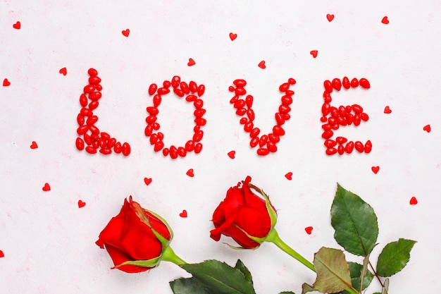 バラとバレンタインの日カード 無料写真