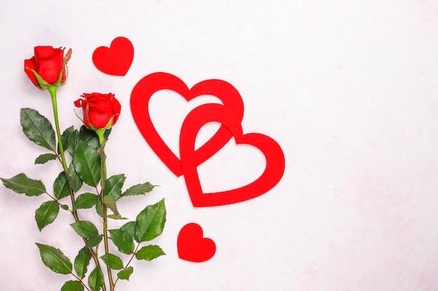 バレンタインデーの背景、バラとバレンタインの日カード 無料写真