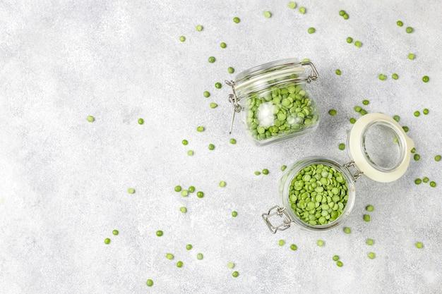 Зеленый горох колотый, вид сверху Бесплатные Фотографии