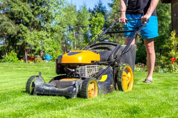 男は庭で晴れた朝に芝刈り機で草を刈っています。 Premium写真