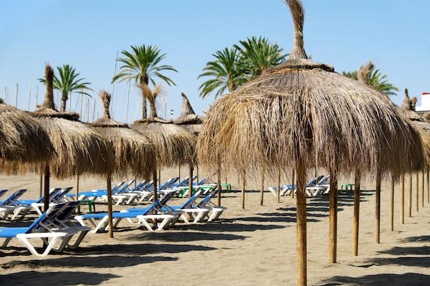 スペイン、マルベーリャのビーチでサンベッドとわら傘の行 Premium写真