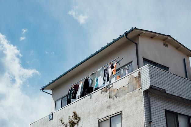 日本で洗濯物を干すアパートぶら下げ 無料写真