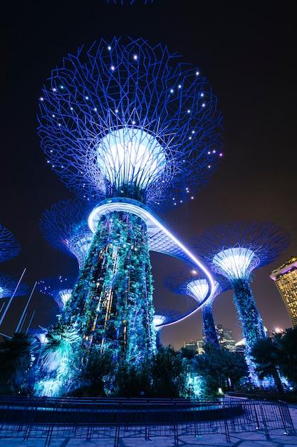 Сад у залива в ночной сцене в сингапуре Бесплатные Фотографии