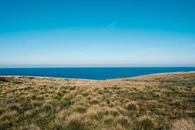 グリーンフィールドと海 無料写真