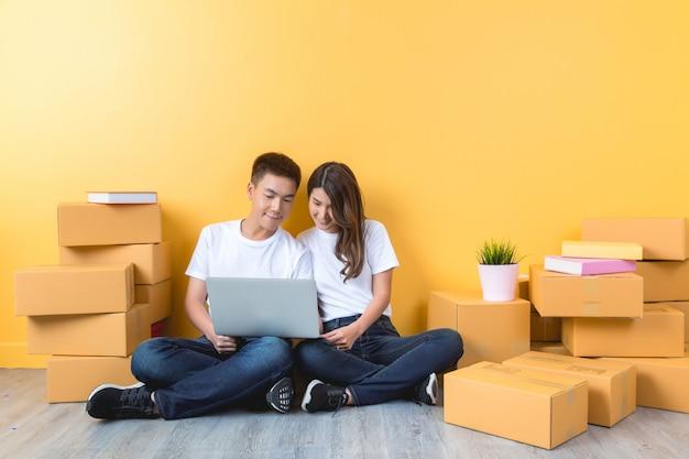 若いカップルが彼らの新しい家に移動 無料写真
