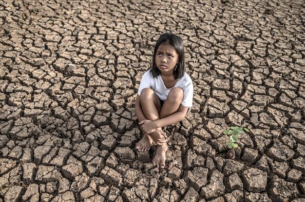 膝を抱いて座っている女の子、空を見て、乾いた地面に木がある 無料写真