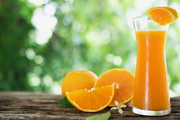 緑の自然に新鮮なジューシーオレンジフルーツセット 無料写真