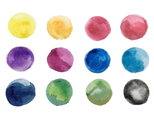 カラフルな明るいインクとホワイトペーパーの背景に水彩画のテクスチャの抽象芸術 無料写真