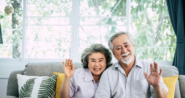 年配のカップルは、こんにちはカメラを見て言う 無料写真