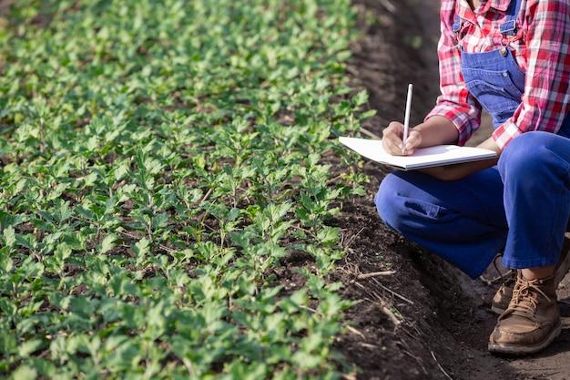 農業は花の種類、現代の農業の概念を研究しています。 無料写真