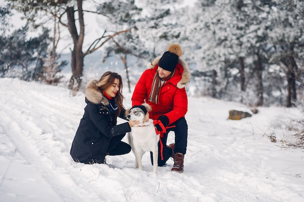犬と遊ぶ美しいカップル 無料写真