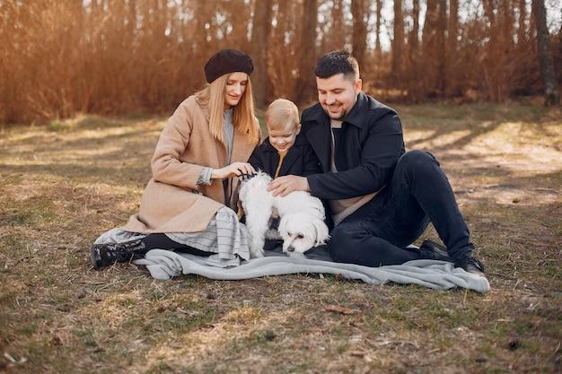 かわいい家族が公園で遊んで 無料写真